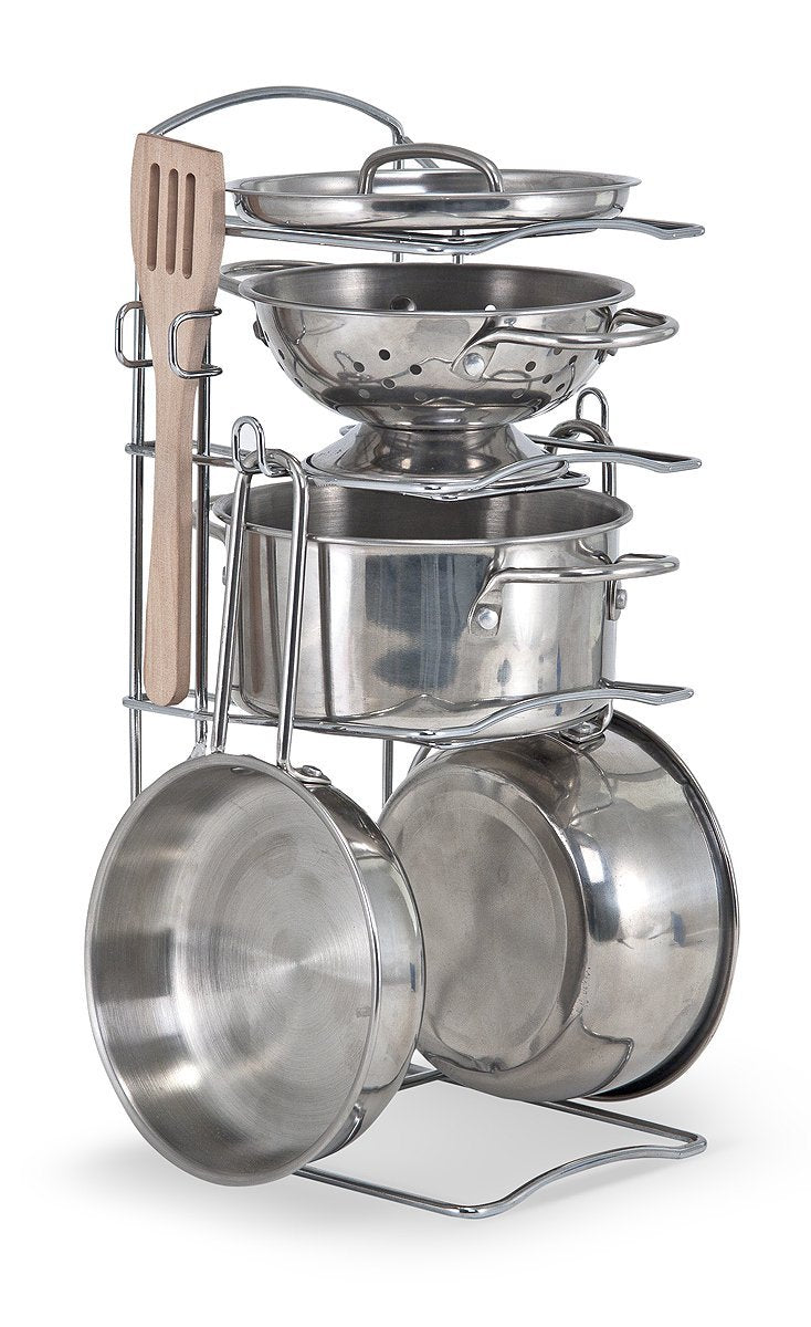 Melissa Doug Stainless Steel Pots And Pans Pretend Play Kitchen Set Toyworld Com