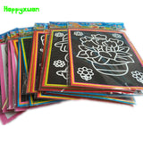Happyxuan 20pcs/lot 13*9.5cm Two-in-one Magic Color Scratch Art Paper, Coloring Cards Scraping Drawing Toys for Children