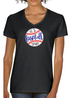 Women's V-Neck Baseball Y'all Glitter