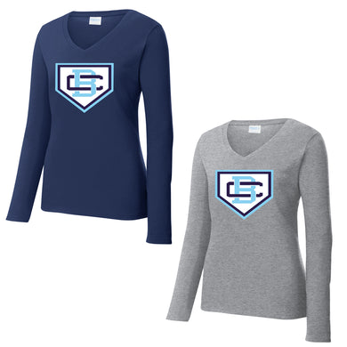 Ladies V-Neck Long Sleeve