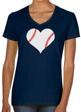 Women's V-Neck Heart With Laces Glitter