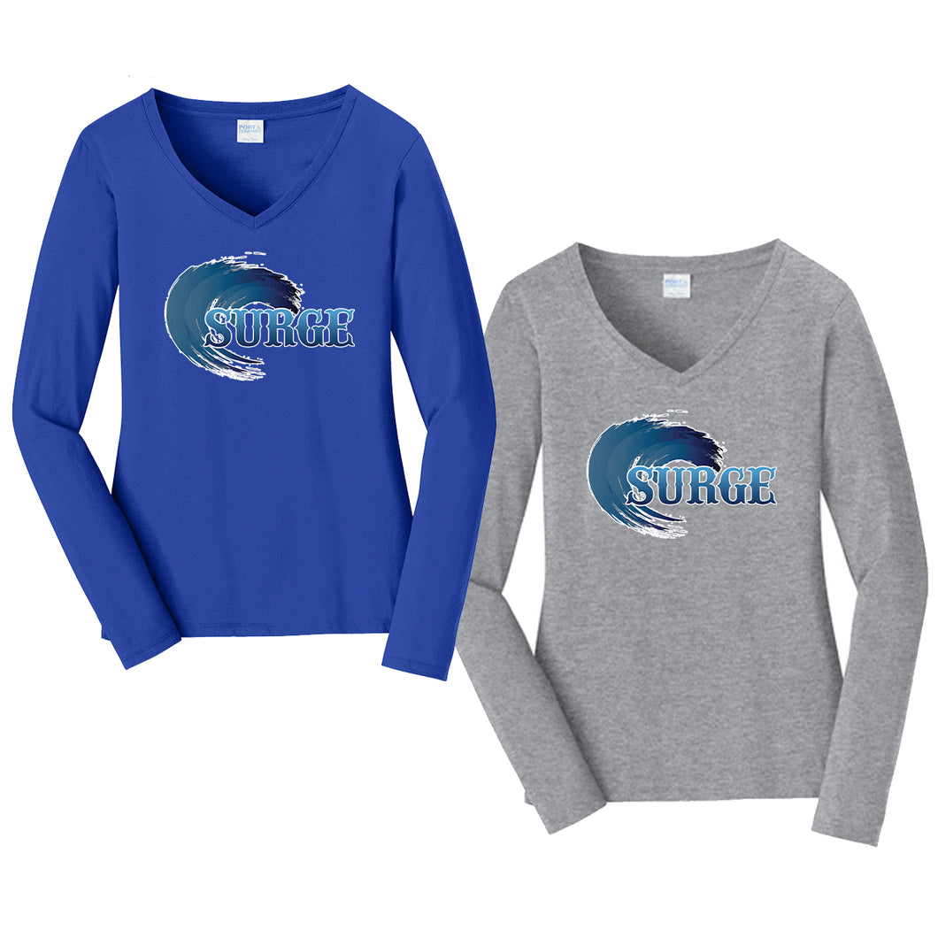 Brick Surge Ladies Long Sleeve V-Neck Shirt