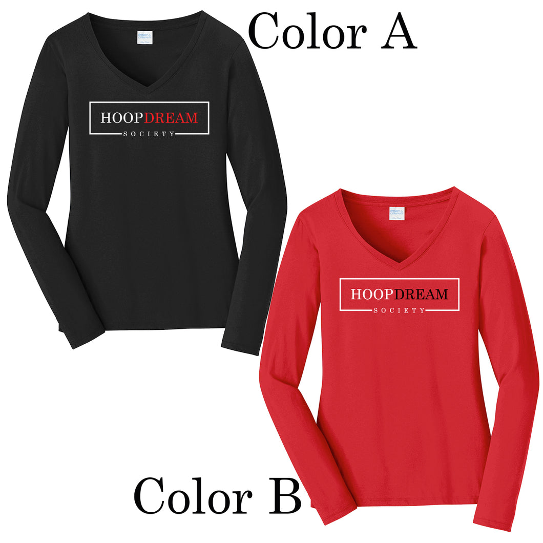 Ladies Long Sleeve V-Neck Shirt