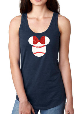 Women's Tank Top Mini Mouse Glitter