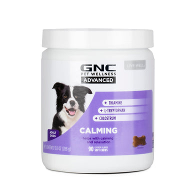 GNC Pets ADVANCED, Calming, All Dog, 90-ct 3.2g Soft Chews in 20oz White Canister | 12 Piece Per Carton