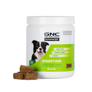 GNC Pets ADVANCED, Digestion, All Dog, 90-ct 3.0g Soft Chews in 20oz White Canister | 12 Piece Per Carton