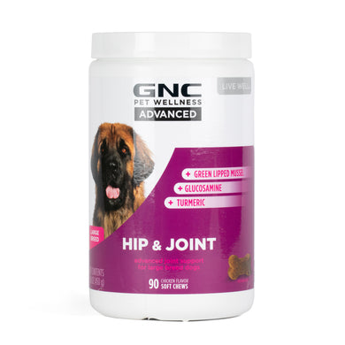 GNC Pets ADVANCED, Hip & Joint, LG Breed, 90-ct 5.0g Soft Chews in 32oz White Canister | 12 Piece Per Carton