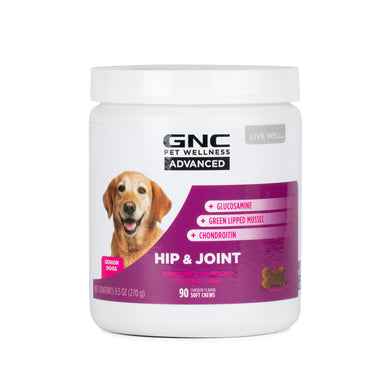 GNC Pets ADVANCED, Hip & Joint, Senior Dog, 90-ct 3.0g Soft Chews in 20oz White Canister | 12 Piece Per Carton