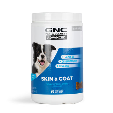 GNC Pets ADVANCED, Skin & Coat, All Dog, 90-ct 4.0g Soft Chews in 32oz White Canister | 12 Piece Per Carton