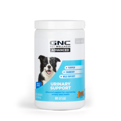 GNC Pets ADVANCED, Urinary Support, All Dog, 60-ct 2.4g Soft Chews in 15-oz White Bottle | 12 Piece Per Carton