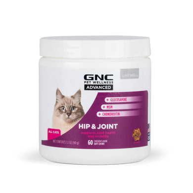 GNC Pets Advanced, Hip & Joint, Cats, 60-ct 1.5g Soft Chews in 8oz White Canister | 12 Piece Per Carton
