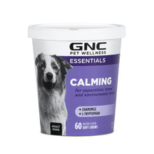 GNC Pets ESSENTIALS, Calming, All Dog, 60-ct 2.2g Soft Chews in a 12-oz printed cup with clear-top white lid. | 12 Piece Per Carton
