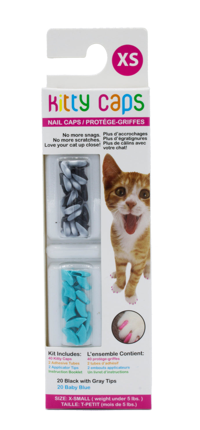 Kitty Caps Nail Caps: Black With Gray Tips & Baby Blue, 40 Count, X-Small | 48 Piece per Carton