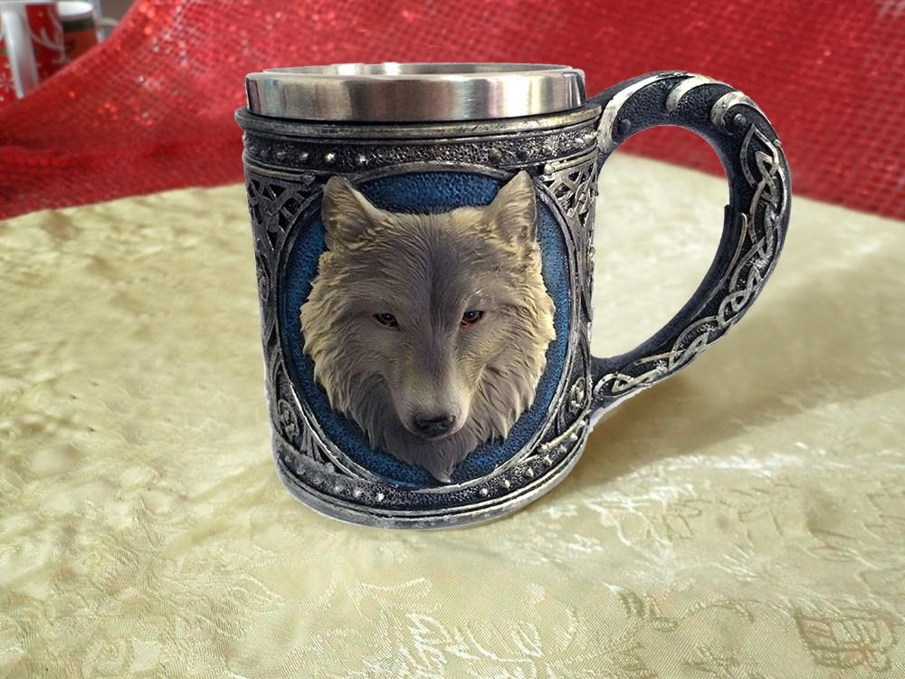 3D Stainless Steel Wolf's Head Mug