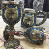 3D Stainless Steel Wolf's Head Goblet