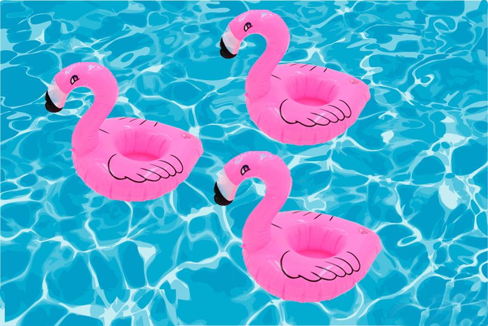 Pack of 3 Inflatable Flamingo Floating Drink Holders