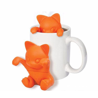 Orange Hanging Cartoon Cat Tea Infuser