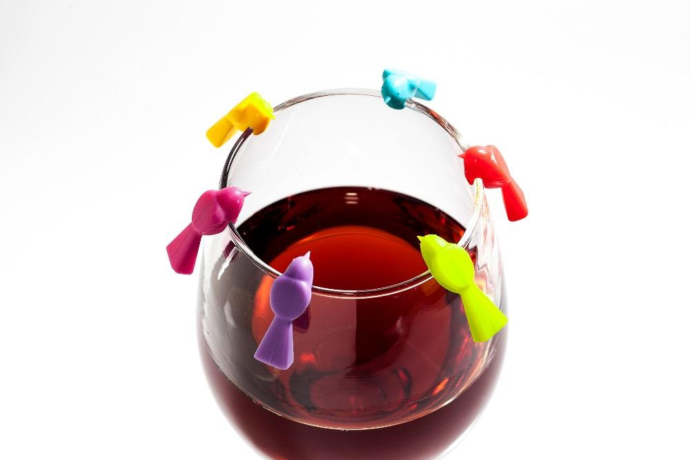 Set of 6 Bird Shaped Drink Identifiers