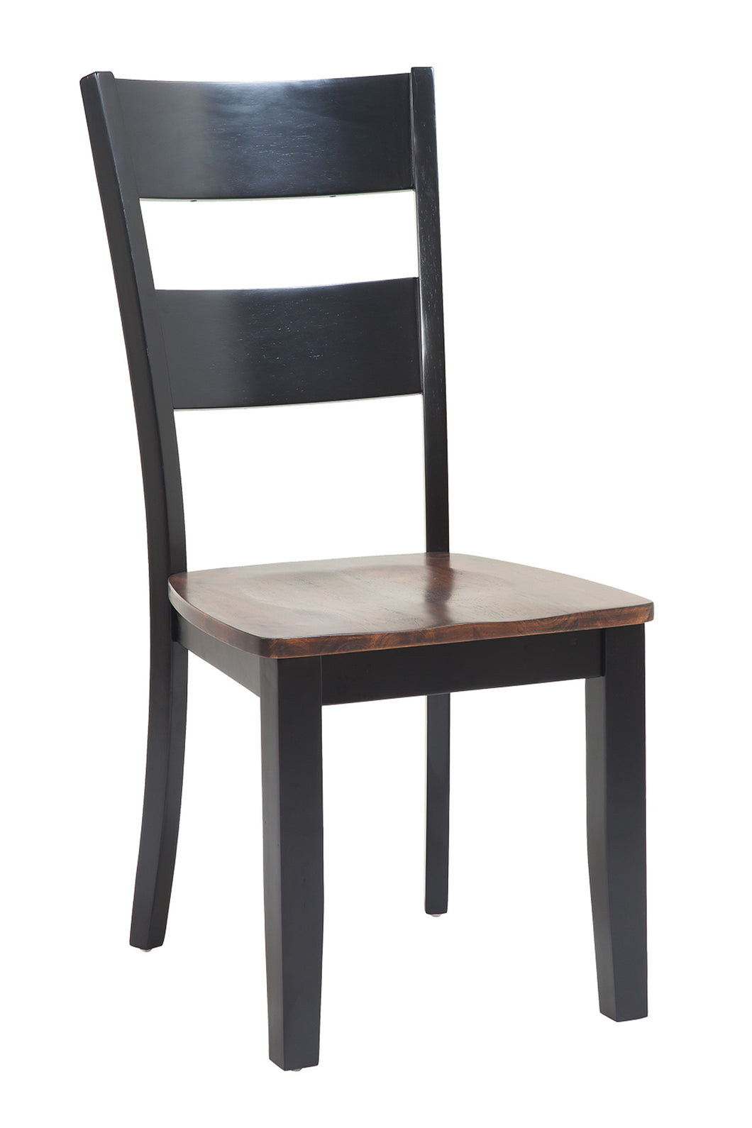 Two Sturdy Dining Chairs In Distressed Light Cherry And Black Tuscohome
