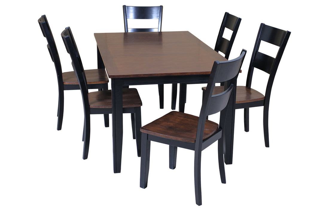 US01TE01C 7DLCB Elly Seven Piece Dining Set In Distressed Light Cherry And  Black