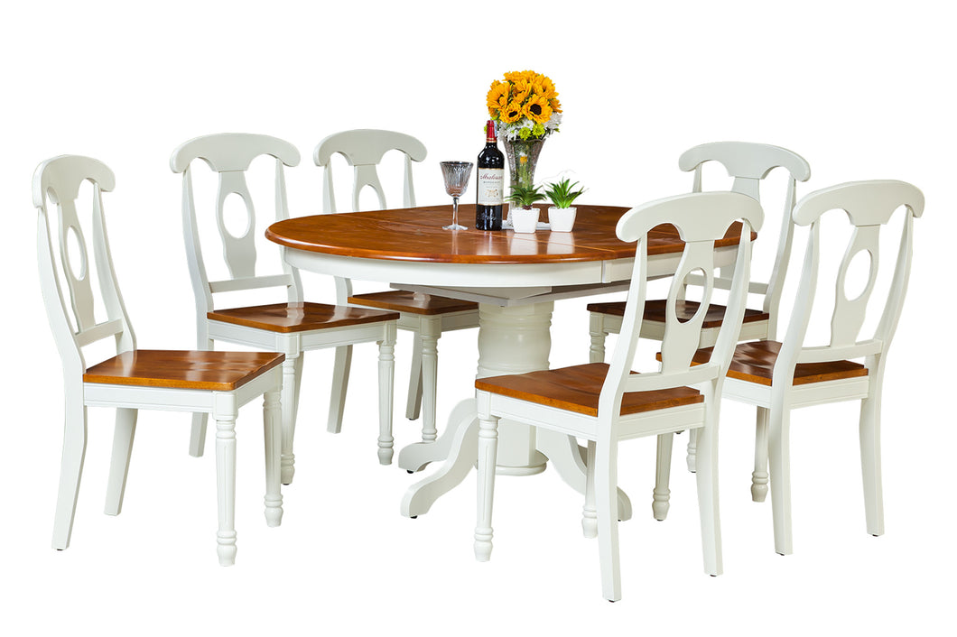 US22TE23C 7OW Yellowstone Seven Piece Dining Set In Oak And White