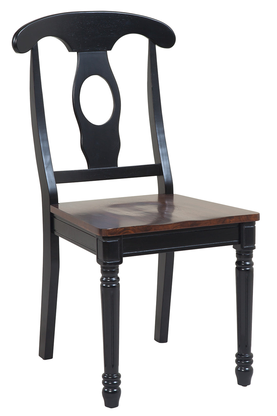Picture of: Two Sturdy Dining Chairs In Distressed Light Cherry And Black Tuscohome