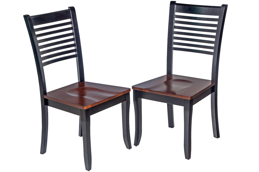 Picture of: Two Sturdy Dining Chair In Distressed Light Cherry And Black Tuscohome