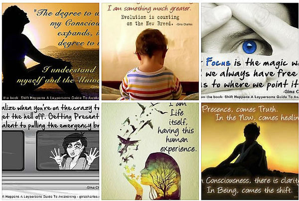 Free download - digital pack of 42 empowering quote-pix by Gina Charles for New World Living. Transformation through self empowerment.