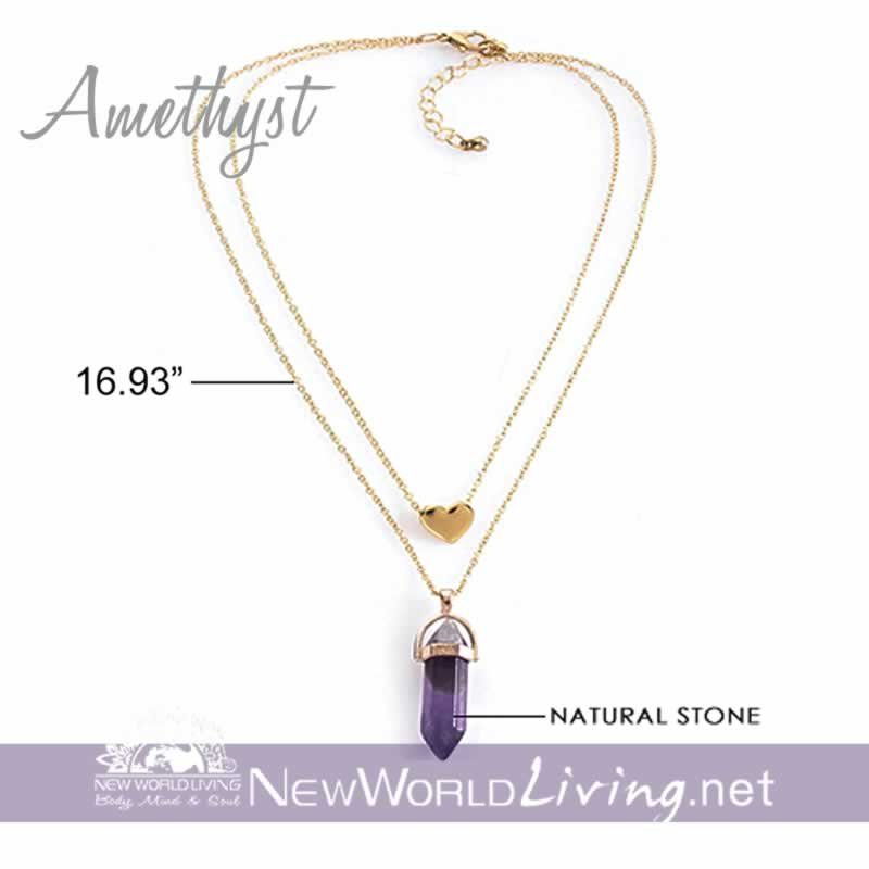 2-in-1 Choker and Natural Stone Pendant Necklace