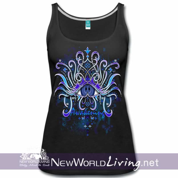 Awakening - women's classic black tank top, S-3XL in 7 colors, sold exclusively at New World Living.