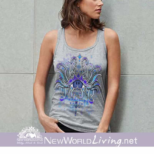 Awakening - women's classic heather grey tank top, S-3XL in 7 colors, sold exclusively at New World Living.