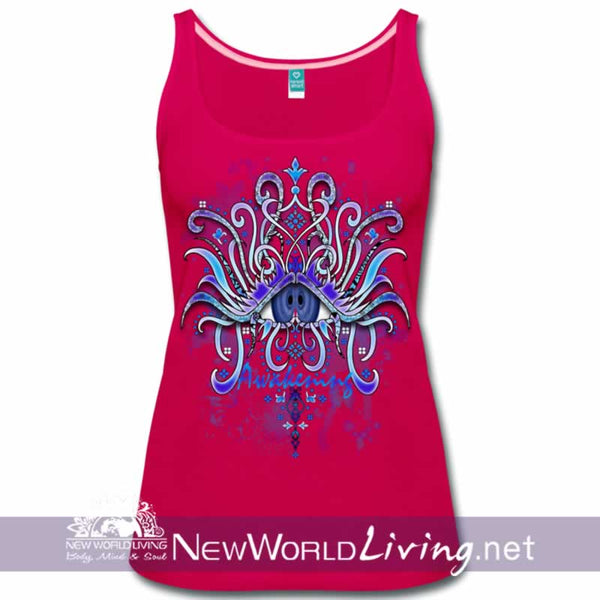 Awakening - women's classic dark pink tank top, S-3XL in 7 colors, sold exclusively at New World Living.