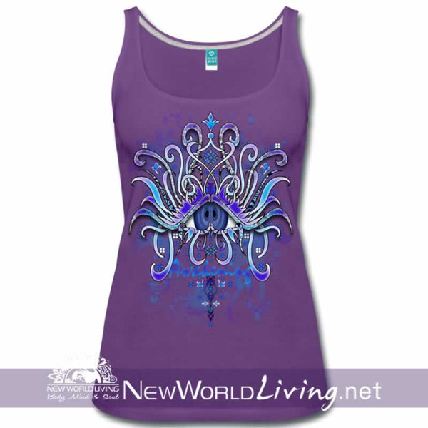 Awakening - women's classic purple tank top, S-3XL in 7 colors, sold exclusively at New World Living.