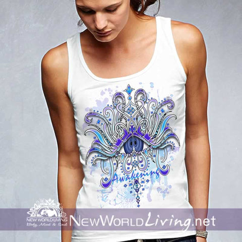Awakening - women's classic white tank top, S-3XL in 7 colors, sold exclusively at New World Living.