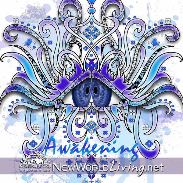 Awakening artwork sold exclusively at New World Living. Awakening - women's wide neck sponge fleece sweatshirt, S-3XL in 4 colors