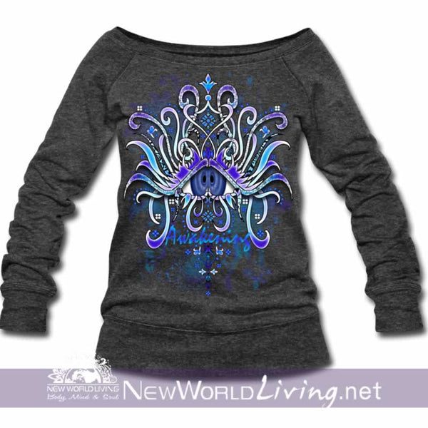 Awakening Wide Neck Sweatshirt - heather black women's wide neck sponge fleece sweatshirt, S-3XL in 4 colors, sold exclusively at New World Living.