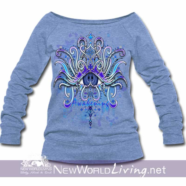 Awakening Wide Neck Sweatshirt - heather Blue women's wide neck sponge fleece sweatshirt, S-3XL in 4 colors, sold exclusively at New World Living.