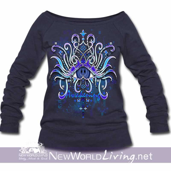Awakening Wide Neck Sweatshirt - melange navy women's wide neck sponge fleece sweatshirt, S-3XL in 4 colors, sold exclusively at New World Living.