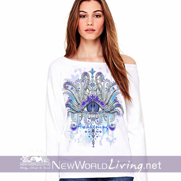 Awakening Wide Neck Sweatshirt -  in white, women's wide neck sponge fleece sweatshirt, S-3XL in 4 colors, sold exclusively at New World Living.