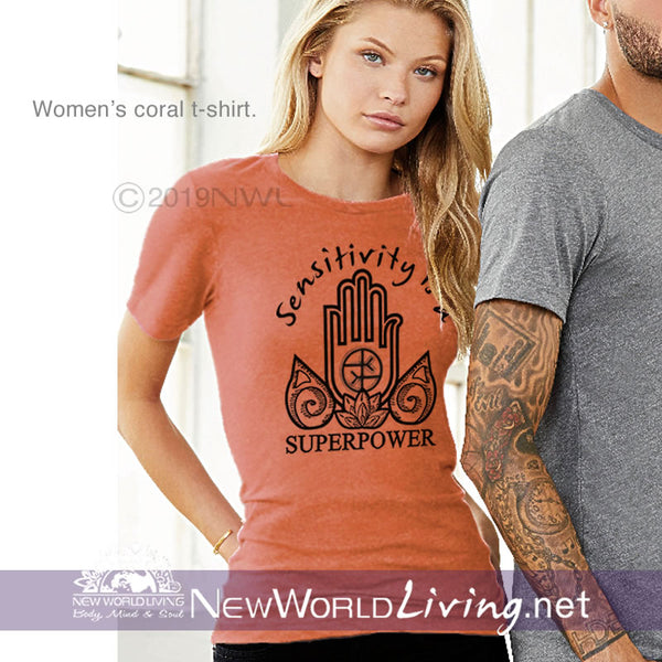 This Sensitivity Is a Superpower t-shirt in coral is a lightweight, short sleeve tshirt with a tailored, modern fit. It has a crew neck and a relaxed, comfortable feel. Everything you want in a well-loved Empath tee!