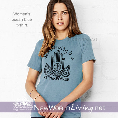 This Sensitivity Is a Superpower t-shirt in ocean blue is a lightweight, short sleeve tshirt with a tailored, modern fit. It has a crew neck and a relaxed, comfortable feel. Everything you want in a well-loved Empath tee!