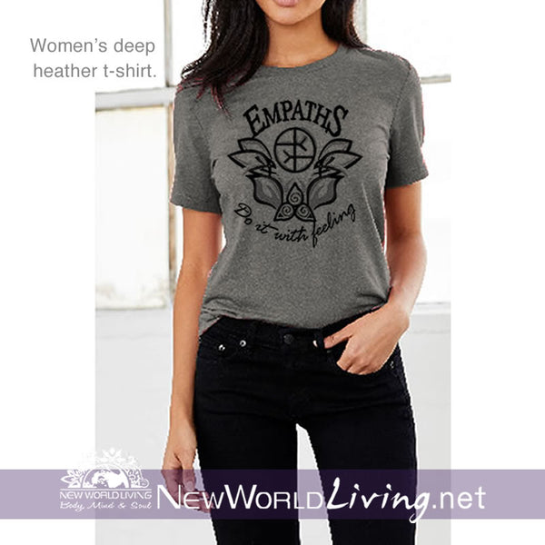 Our Empaths Do It With Feeling deep heather t-shirt is a lightweight, short sleeve tshirt and has a tailored, modern fit. It has a crew neck and a relaxed, comfortable feel. Everything you want in a well-loved tee.