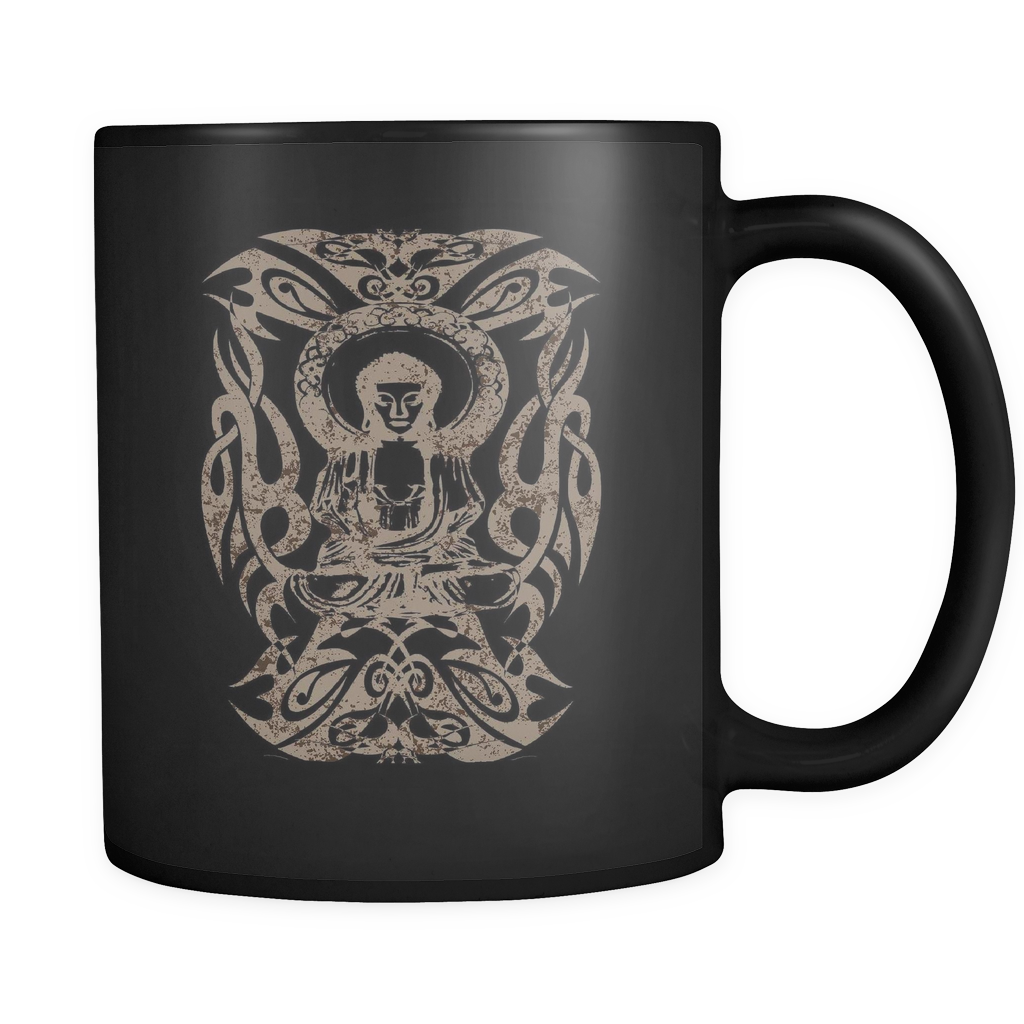 Tribal Buddha Black 11oz Mug