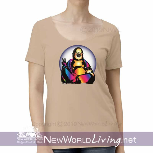 This comfy, lightweight womens tshirt features a semi tapered, feminine fit and a flattering deep scoop neckline. S-2XL. Sold exclusively by New World Living Apparel.