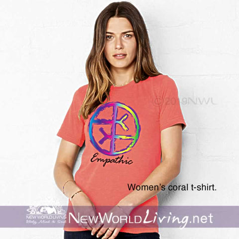 Our Empathic symbol coral t-shirt is a lightweight, short sleeve tshirt with a tailored, modern fit. It has a crew neck and a relaxed, comfortable feel. Everything you want in a well-loved Empath tee!