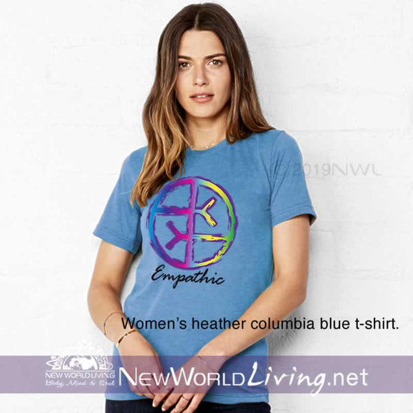 Our Empathic symbol heather columbia blue t-shirt is a lightweight, short sleeve tshirt with a tailored, modern fit. It has a crew neck and a relaxed, comfortable feel. Everything you want in a well-loved Empath tee!