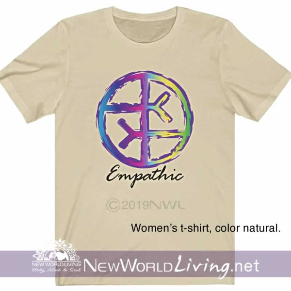 Our Empathic symbol t-shirt in a natural color,  is a lightweight, short sleeve tshirt with a tailored, modern fit. It has a crew neck and a relaxed, comfortable feel. Everything you want in a well-loved Empath tee!