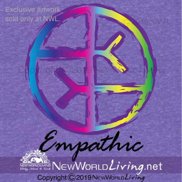 Our Empathic symbol heather peach t-shirt is a lightweight, short sleeve tshirt with a tailored, modern fit. It has a crew neck and a relaxed, comfortable feel. Artwork graphic is sold exclusively at New World Living.