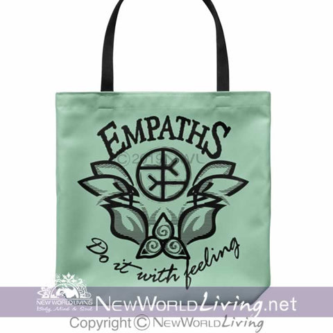 "We created our Empaths Do It With Feeling Tote Bag to celebrate empaths and highly sensitive people. The bag is 18"" x 18"", with a 1"" wide, comfortable cotton shoulder strap. The bag comes in 5 colors and is sold exclusively at New World Living. May you carry this bag in positivity and high vibes."