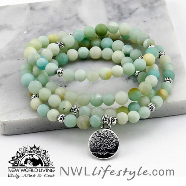 Frosted Amazonite Tree Of Life Bracelet or Necklace